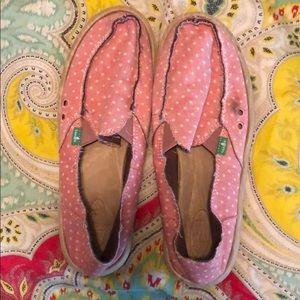 Pink and white polka dot Sanuk slip ons size 9